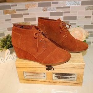 TOMS brown heel booties